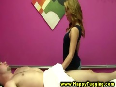 lewd masseuse rubbing down favourable client and