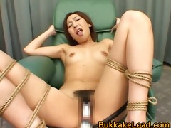 japanese bondage slut receives a cum washroom
