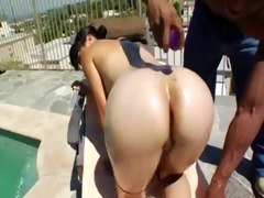 oiled oriental ass receives bbc up it is