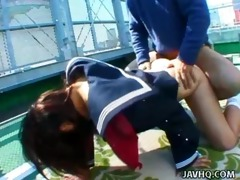 shy japanese coed exhibs and drilled outdoor