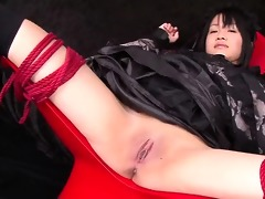 hikaru momose bound widen wide open in a chair