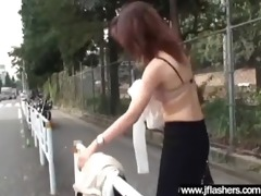 floozy japanese love outdoor flashing and fucking