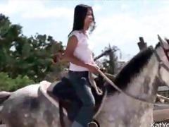 topless asian teen riding a horse oriental