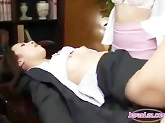 office lesbo asians fucking with toys