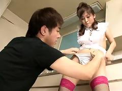 moe yoshikawa rides a ramrod in the kitchen her