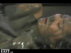 japanese femdom mud wresting with sex villein and