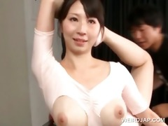 sexy boobed oriental gymnast teased in a torn
