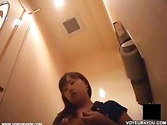 office restroom girl masturbate
