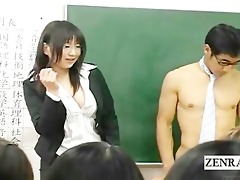subtitled dressed japanese teacher on undressed