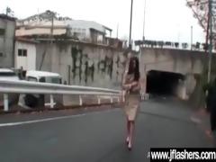 cute asian girl flashing and fucking hard outdoor