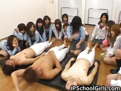asian schoolgirls are having a giant