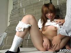 lustful japanese legal age teenager pleases her