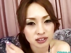 oriental hotty in bikini top getting her cunt