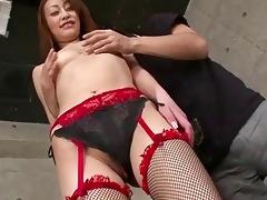 slender japanese hottie in red underware
