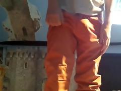 sagging in chinos- white boxers