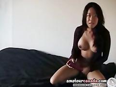 large tit oriental girlfriend screwing sex toy