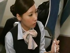 japanese stewardess giving a cook jerking