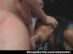 caged asian sweetheart gives oral-stimulation and