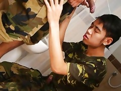 sexy asian soldiers soaked washroom military sex