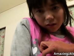glamorous oriental schoolgirl gets a warm