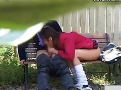 nasty schoolgirl outdoor bench sex festival