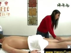 oriental angel in red gives massage
