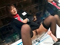 stockinged oriental models engulfing dildos in a