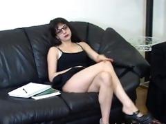 nerdy schoolgirl fondles her sexy body to tease