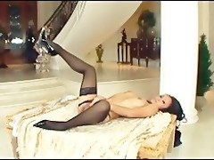 petite oriental drilled in seamed stockings and