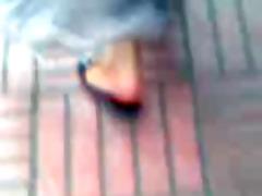 cute arabic feet in dark sandals