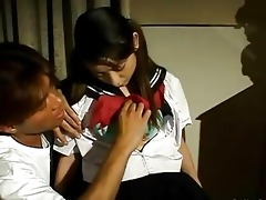 taut oriental schoolgirl twat receives drilled