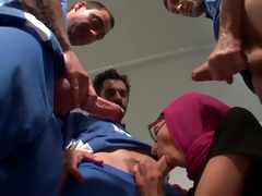 concupiscent arab slut acquires a gang group sex
