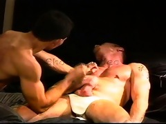 sexy hung smooth muscle fellow has balls punched