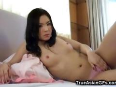 non-professional oriental gf fucks herself