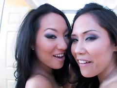 two breathtaking asian pornstars sharing a knob