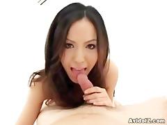 hawt japanese babe sucks a dick and swallows cum