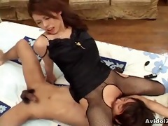 busty japanese give a ideal cook jerking and