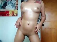 cute oriental playgirl playing with her shaven