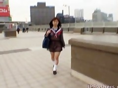 mikan cute oriental student flashes her part9