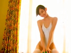 thin, slender asian girl in white bikini
