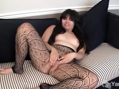 oriental hermine toying her bushy cunt
