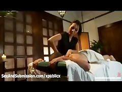 asa akira gives oral-stimulation in massage parlor