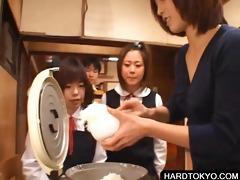 oriental students tasting stud cream