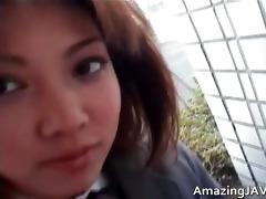 cute oriental schoolgirl engulfing weenie