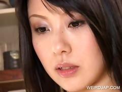 oriental brunette receives tits teased
