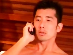 concupiscent oriental man jerks off in the motel