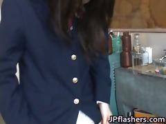 astounding oriental schoolgirl shows off her