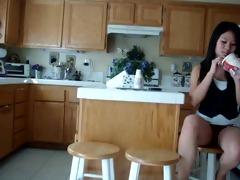 oriental chick kitchen voyeur fingering