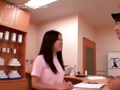 cute asian nurse caught in a sexy three-some at