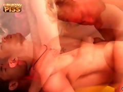 asiaboy and blond fellow cum jointly